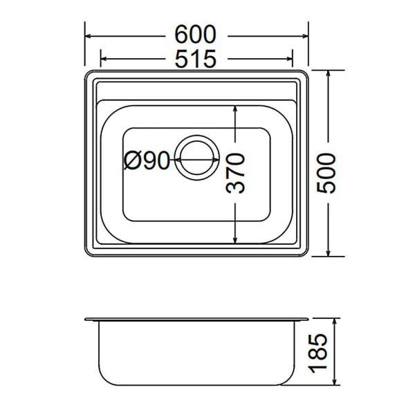 FORTINOX VALLEY 25060 - Νεροχύτης κουζίνας inox - διαστάσεις
