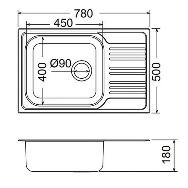 FORTINOX VALLEY 25105 - Νεροχύτης κουζίνας inox - διαστάσεις