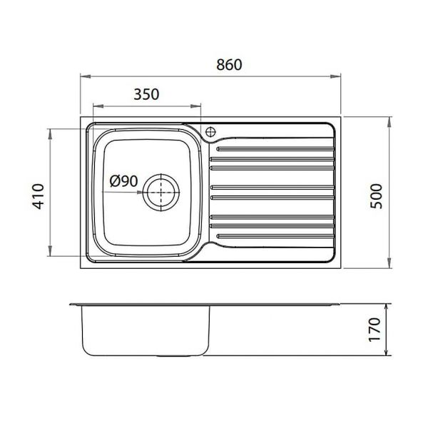 FORTINOX VALLEY 25186 - Νεροχύτης κουζίνας inox - διαστάσεις