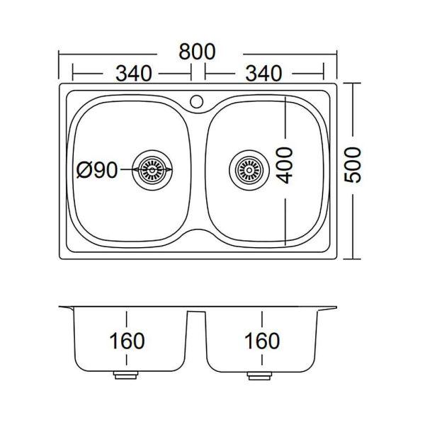FORTINOX VALLEY 25200 - Νεροχύτης κουζίνας inox - διαστάσεις