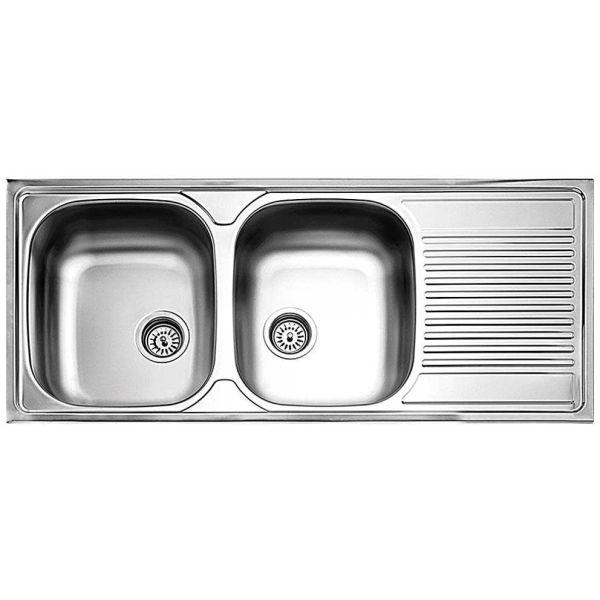 FORTINOX VALLEY 25210 - Νεροχύτης κουζίνας inox με 2 γούρνες & ποδιά