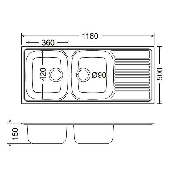 FORTINOX VALLEY 25210 - Νεροχύτης κουζίνας inox - διαστάσεις