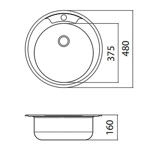 FORTINOX VALLEY 25900 - Νεροχύτης κουζίνας inox - διαστάσεις