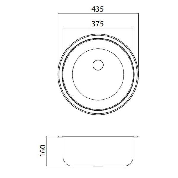 FORTINOX VALLEY 28900 - Νεροχύτης κουζίνας inox - διαστάσεις