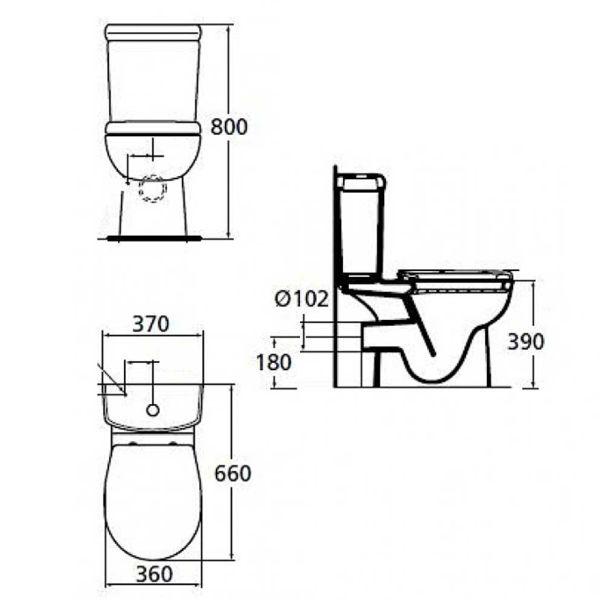 IDEAL STANDARD AREAL W911701 - Λεκάνη μπάνιου με καζανάκι και κάλυμμα