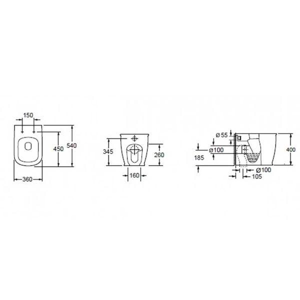 KARAG GENESIS CB 10150 - Λεκάνη μπάνιου δαπέδου-διαστάσεις