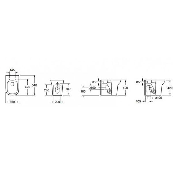 KARAG GRACE CB 10134 - Λεκάνη μπάνιου δαπέδου-διαστάσεις