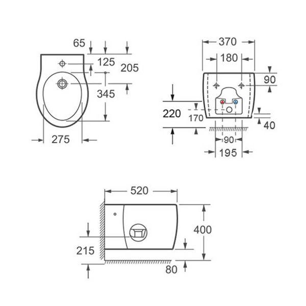 KARAG IMPRESSION CH 1030 - Λεκάνη μπάνιου κρεμαστή-διαστάσεις