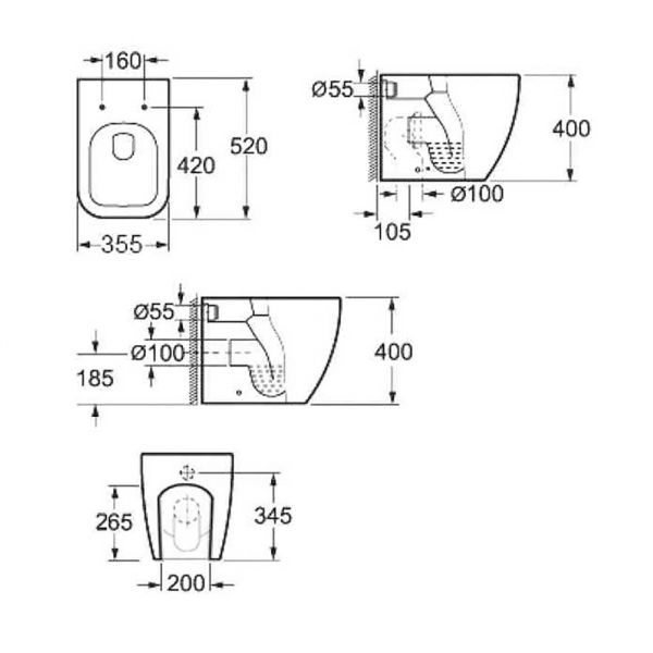 KARAG LEGEND CB 10100 - Λεκάνη μπάνιου δαπέδου-διαστάσεις
