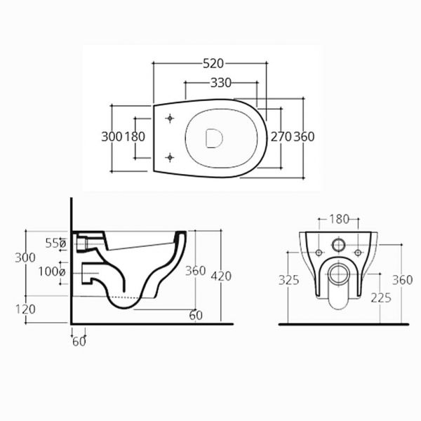 ELINOIS RIMLESS - Λεκάνη μπάνιου - διαστάσεις
