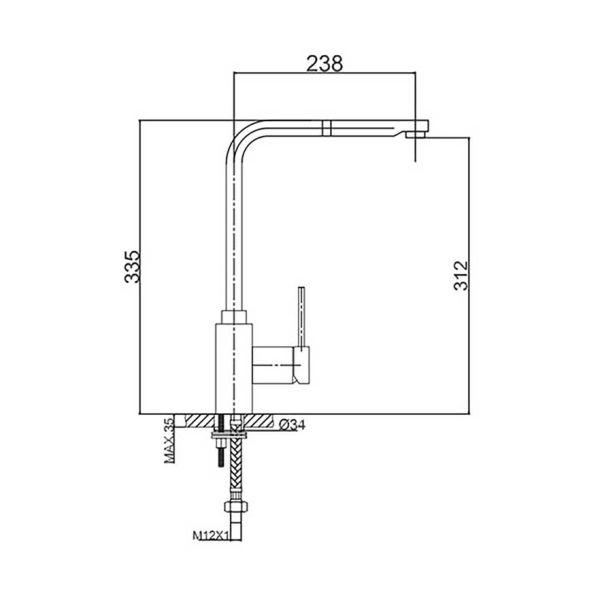 PRO DUS GRANITEK - Μπαταρία κουζίνας ψηλή -διαστάσεις