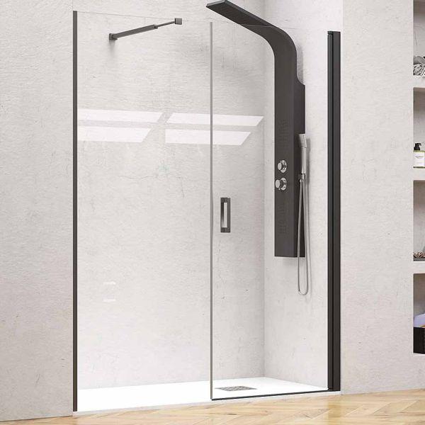 Καμπίνα μπάνιου-ντουζιέρας NERO PIVOT CLEAR EXTRA LARGE μαύρο ανοιγόμενη