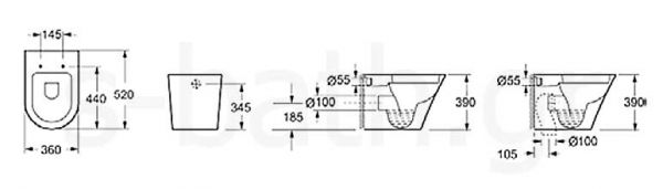 KARAG SORRENTO CH 1088 - Λεκάνη μπάνιου κρεμαστή - διαστάσεις