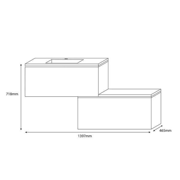 Έπιπλο μπάνιου NATURE-140 κρεμαστό - διαστάσεις