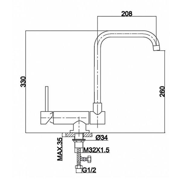 PRAXIS TLWT02 - Μπαταρία κουζίνας - διαστάσεις