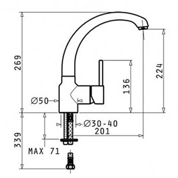PYRAMIS ARMONICA CLASSIC ΧΡΩΜΕ 095151001 - Μπαταρία κουζίνας - διαστάσεις