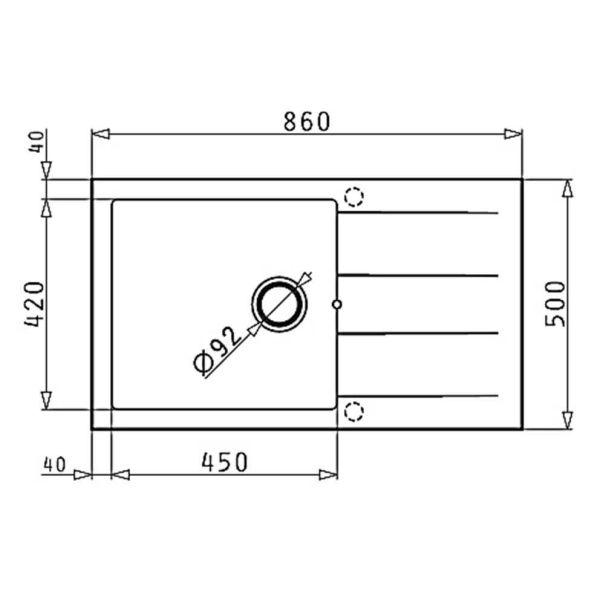 PYRAMIS PYRAGRANITE ATHLOS 86x50 1B 1D - Νεροχύτης κουζίνας διαστάσεις