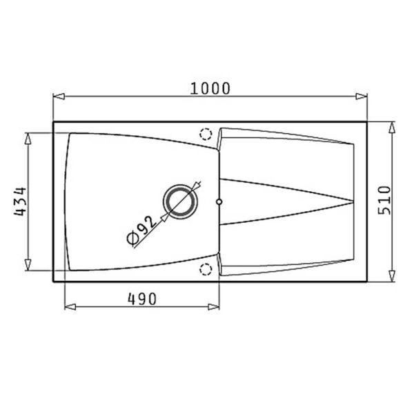 PYRAMIS PYRAGRANITE CALDERA 100X51 1B 1D - Νεροχύτης κουζίνας γρανίτης