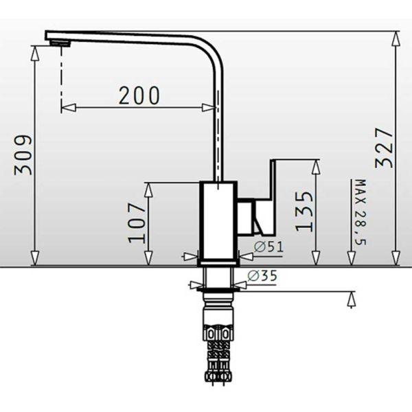 PYRAMIS CECILIA PREMIUM 090917301 - Μπαταρία κουζίνας ψηλή - διαστάσεις