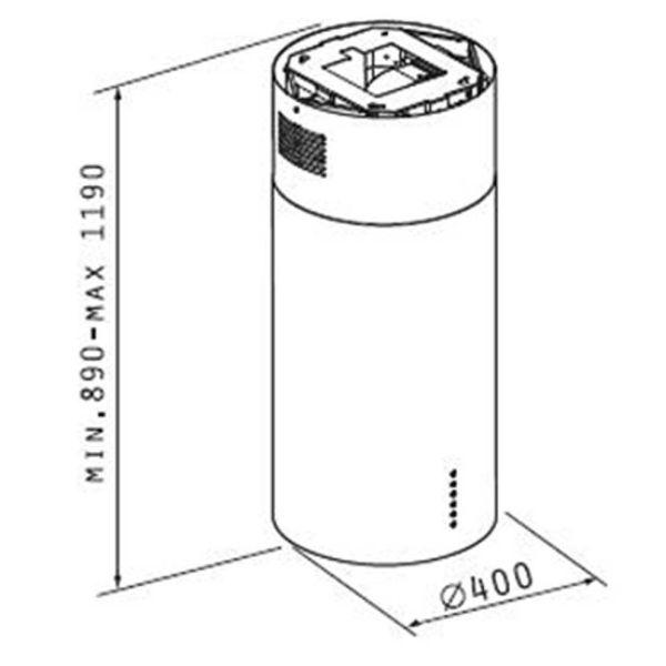PYRAMIS CILINDRICO ELEGANT 065018601- Απορροφητήρας κουζίνας - διαστάσεις