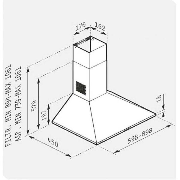 PYRAMIS CLASSIC ΚΑΜΙΝΑΔΑ ΤΕΤΡΑΓΩΝΗ LUX 60 065030102- Απορροφητήρας κουζίνας - διαστάσεις