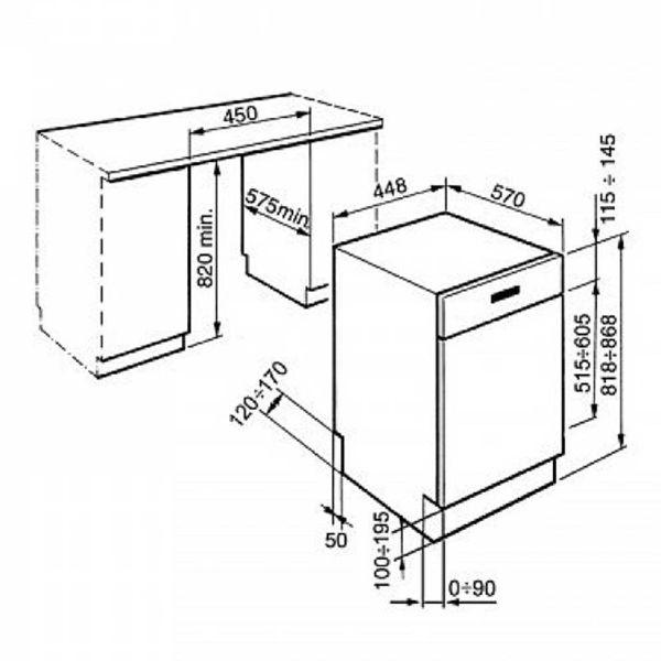 PYRAMIS DWF 45FI ΜΑΥΡΟ- Πλυντήριο πιάτων - διαστάσεις