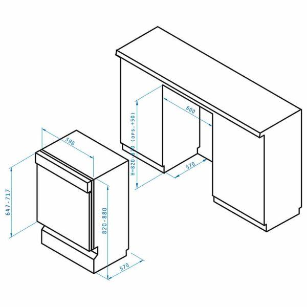 PYRAMIS DWE 60FI ΜΑΥΡΟ- Πλυντήριο πιάτων - διαστάσεις