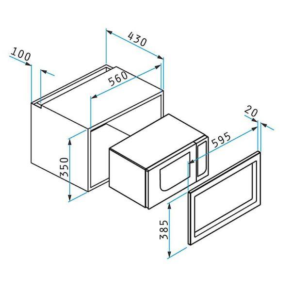 PYRAMIS ΦΟΥΡΝΟΣ ΜΙΚΡΟΚΥΜΑΤΩΝ 30 INOX - Φούρνος μικροκυμάτων - διαστάσεις