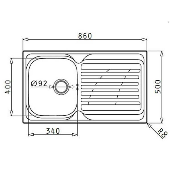 PYRAMIS COVENTRY 86x50 1B 1D - Νεροχύτης κουζίνας - διαστάσεις
