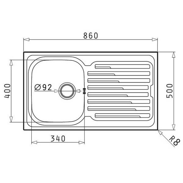PYRAMIS MAIDSINKS FEDRA 86x50 1B 1D - Νεροχύτης κουζίνας - διαστάσεις