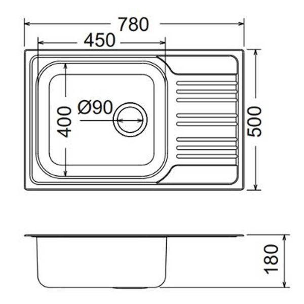 PYRAMIS MAIDSINKS INSET 78x50 1B 1D - Νεροχύτης κουζίνας - διαστάσεις