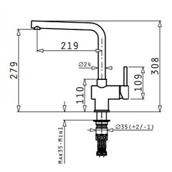 PYRAMIS MANDOLIN PREMIUM 090917501 - Μπαταρία κουζίνας - διαστάσεις