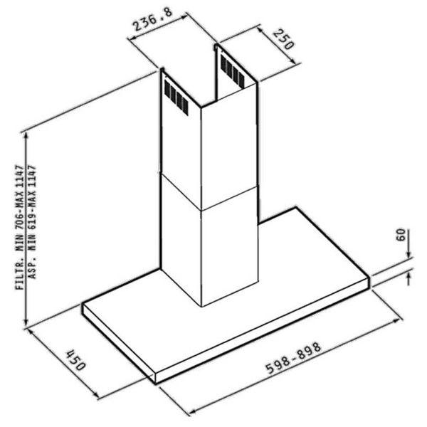 PYRAMIS PREMIUM AGILO 60 065030701- Απορροφητήρας κουζίνας - διαστάσεις