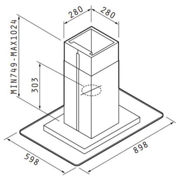 PYRAMIS PREMIUM CIELO 90 065018501- Απορροφητήρας κουζίνας καμινάδα - διαστάσεις