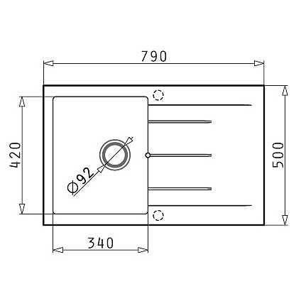PYRAMIS PYRAGRANITE ALAZIA 79X50 1B 1D - Νεροχύτης κουζίνας - διαστάσεις