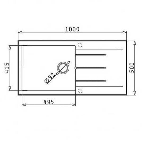 PYRAMIS PYRAGRANITE ALAZIA PLUS 100X50 1B 1D - Νεροχύτης κουζίνας - διαστάσεις