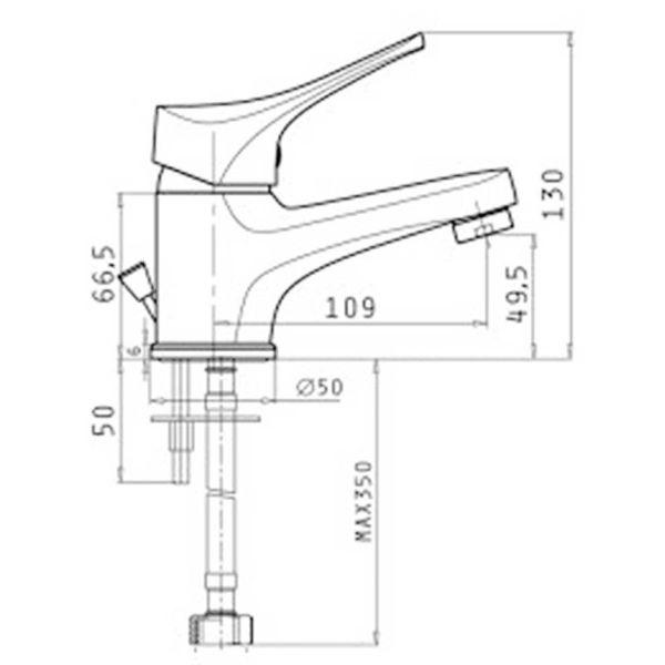 PYRAMIS SERRA 090925701- Μπαταρία μπάνιου νιπτήρα - διαστάσεις
