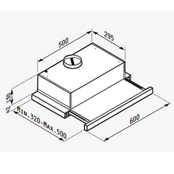 PYRAMIS ECOLINE ΣΥΡΟΜΕΝΟΣ POWER SLIM 60CM 065032901 - Απορροφητήρας κουζίνας - διαστάσεις