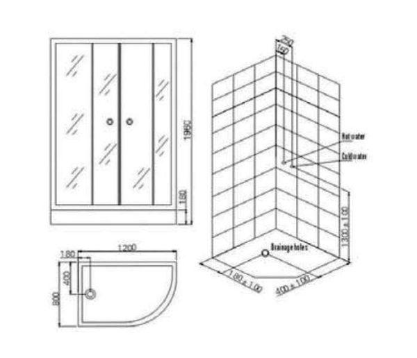 Καμπίνα μπάνιου RINKA-100 - διάστασεις