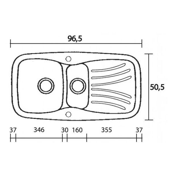 SANITEC CLASSIC 309 - Νεροχύτης κουζίνας συνθετικός-διαστάσεις
