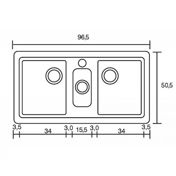 SANITEC CLASSIC 325 - Νεροχύτης κουζίνας συνθετικός-διαστάσεις