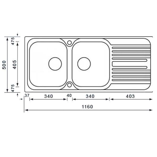 ATLANTIC 10647 - Νεροχύτης ανοξείδωτος κουζίνας-διαστάσεις