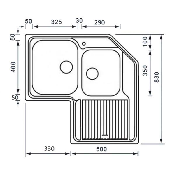 ZENITH 11298 - Νεροχύτης ανοξείδωτος κουζίνας-διαστάσεις