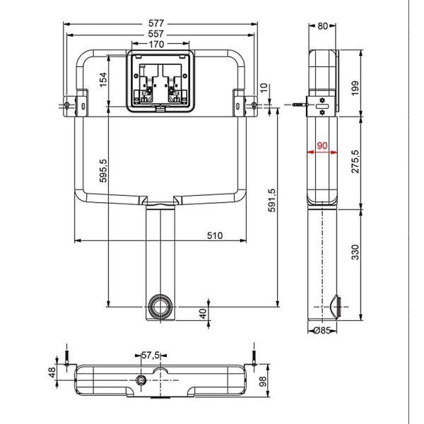 SIAMP VERSO HT 11180-1 - Καζανάκι μπάνιου εντοιχισμένο για μονό τούβλο-λεκάνη δαπέδου