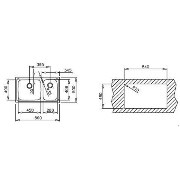 TEKA CLASSIC 86 2C ΜΑΧ - Νεροχύτης κουζίνας - διαστάσεις
