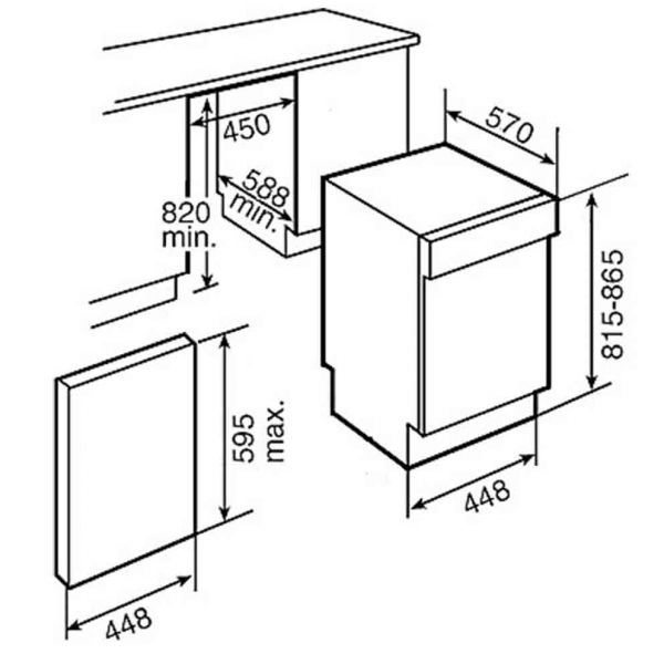 TEKA DW 455 S 45cm INOX - Πλυντήριο πιάτων εντοιχιζόμενο - διαστάσεις