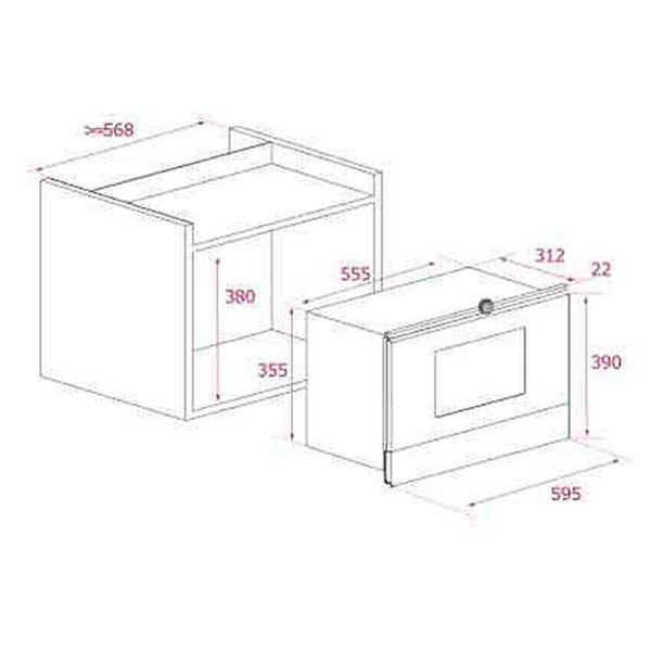 TEKA ML 822 BIS L ΛΕΥΚΟ - Φούρνος μικροκυμάτων εντοιχισμένος - διαστάσεις