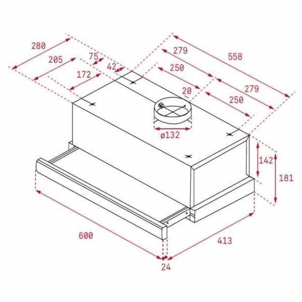 TEKA TL 6310 60 - Απορροφητήρας κουζίνας - διαστάσεις