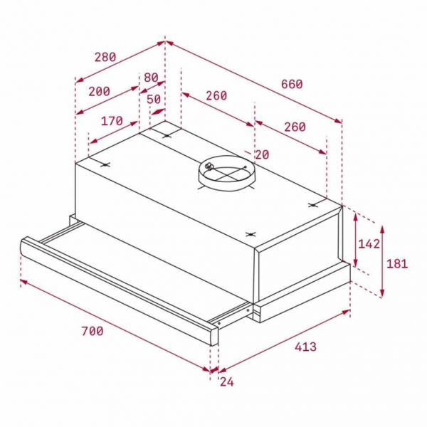 TEKA TL 7420 70 - Απορροφητήρας κουζίνας - διαστάσεις