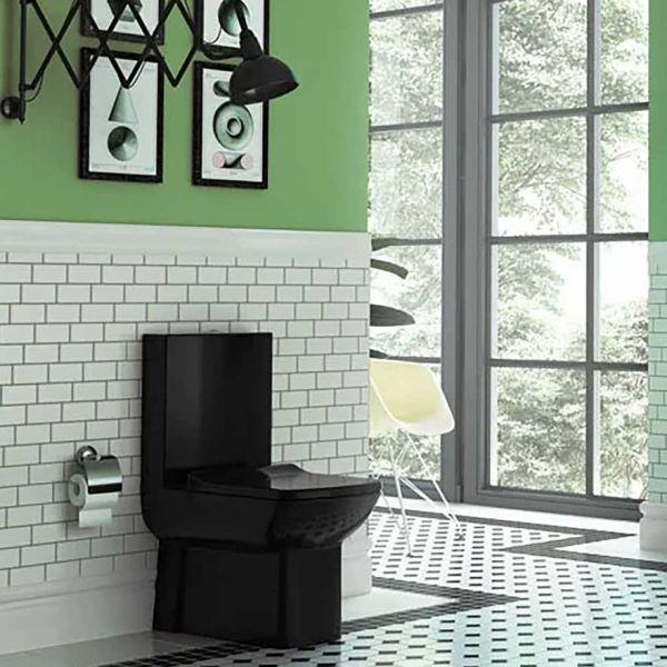 QUADRO SET BLACK - Λεκάνη μπάνιου πλήρης μαύρο